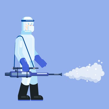 Man edical scientist in chemical protection suit disinfects spray to cleaning and disinfect virus Covid-19, Coronavirus disease, preventive measures. Vector illustration flat style