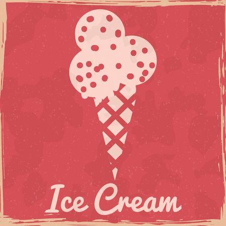 Ice Cream cone sweet dessert vintage poster. Textured grunge effect retro card