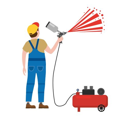 Spray painter professional character spraying yellow paint from paint gun wearing mask and uniform compressor. Flat cartoon style vector illustration isolated on white background.