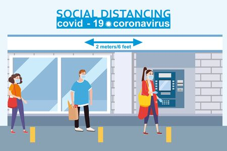 Social distancing and from COVID-19 coronavirus outbreak spreading concept prevention. Maintain a safe distance 2 meters from others at the supermarket bank pharmacy queues. Characters in line at the ATM. Vector isolated illustration Vettoriali