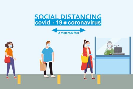 Social distancing and from COVID-19 coronavirus outbreak spreading concept prevention. Maintain a safe distance 2 meters from others at the supermarket bank pharmacy queues. Characters in queue bank. Vector isolated illustration Vettoriali