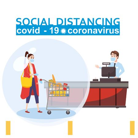 Social distancing and from COVID-19 coronavirus outbreak spreading concept prevention. Maintain a safe distance 2 meters from others at the supermarket bank pharmacy queues. Characters in a supermarket at the checkout. Woman with grocery cart and cashier. Vettoriali