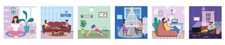 Set banner Stays at home. Woman character practicing yoga, Man listens to music. Young couple drink rea or coffee on, watching movies or TV shows social distancing quarantine. Vector social illustration during a virus pandemic. Banner isolated