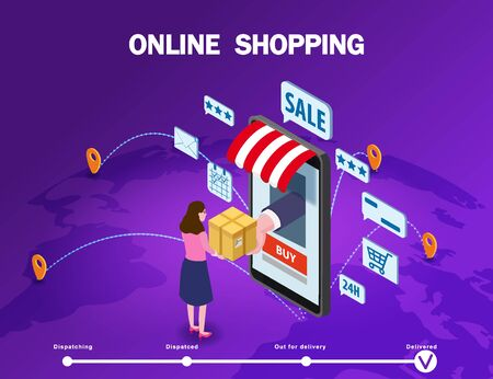 Online shopping young women character makes a purchase smartphone internet shop Иллюстрация