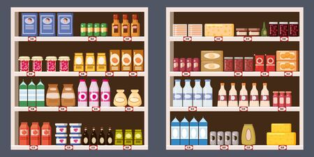 Supermarket shelves with dairy products. Vector background.
