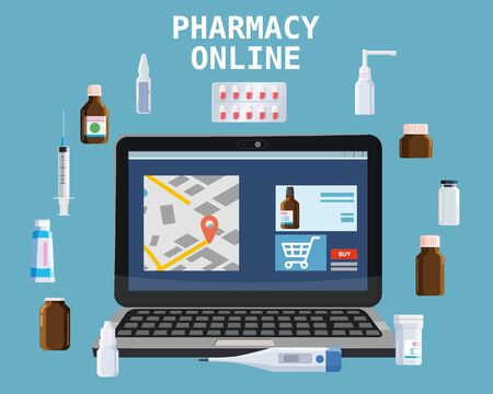 Online pharmacy store offers drugs pills bottles. Laptop concept site healthcare and shopping medicines. Vector isolated cartoon flat style illustration Иллюстрация