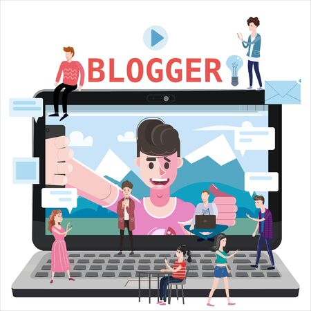 Blogger channel video for blog or vlog, holds smartphone on tripod. Popular young video streamer blogger man, live broadcast, podcast, online channel.
