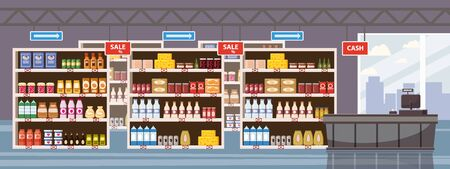 Big Shop Super Market Shopping Mall Interior store inside shelves with dairy products