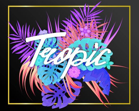 Summer trendy neon tropical leaves exotical plants palm jungle leaf. Lettering trending colors on dark background template banner. Иллюстрация