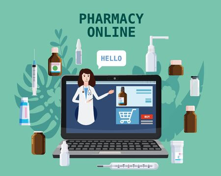 Online pharmacy store pharmacept women offers drugs pills bottles. Laptop consept site healthcare and shopping medicines. Vector isolated cartoon flat style illustration