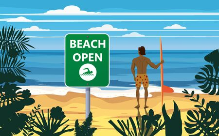 Summer beach banner Open surfer with surfboard. Seascape ocean shore tropical flora palms