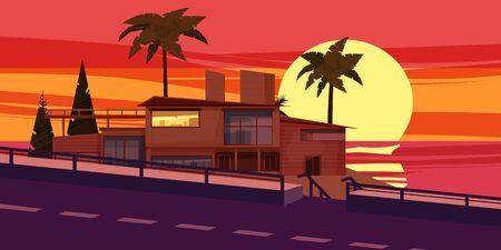 Sea shore sunset beach luxury cottage villa house for rest with palms and plants, sea, ocean