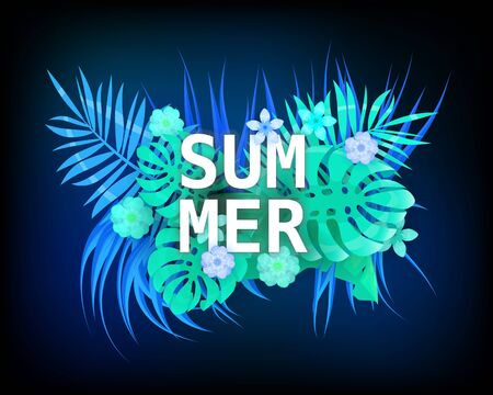 Summer trendy neon tropical leaves exotical plants palm jungle leaf. Trending colors on dark background template banner. Vector illustration isolated