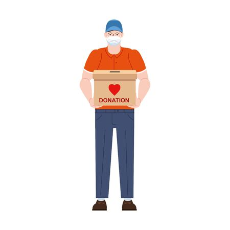 Volunteer man character in medical protective mask with donation box