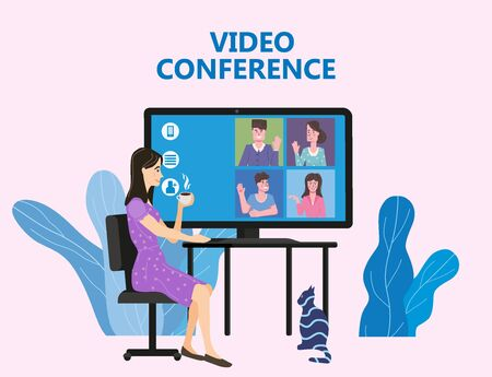 Woman worked from home Video conference people on computer screen laptop talking by internet in videocall, chat