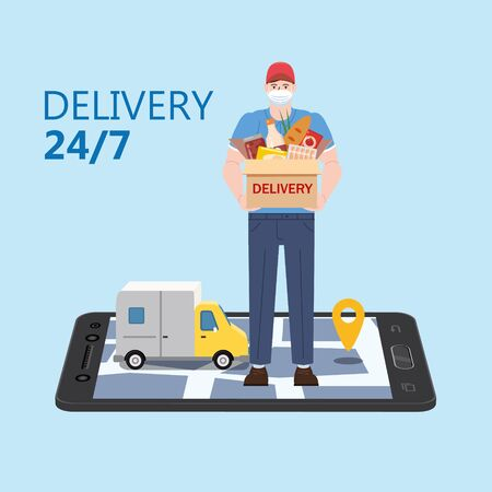 Safe Delivery courer man in medical protective mask with package box, smartphone online map, van cargo background. Delivery during quarantine pandemic coronovirus COVID-19. Vector illustration isolated