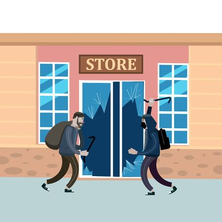 Looters with crowbar and bag make a store robbery, broken door Illustration