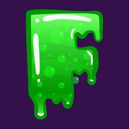 Slime font type letter F latin alphabet. Green bubbling toxic mold. Vector cartoon style illustration