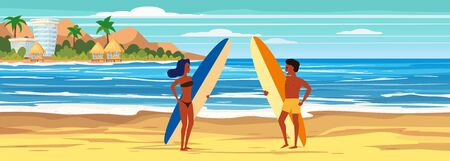 Summer beach surfers characters woman and man with surfboards on sea ocean coast, palms sand surf. Beautiful tropical landscape seascape banner holiday vacation. Vector isolated cartoon styl Ilustrace