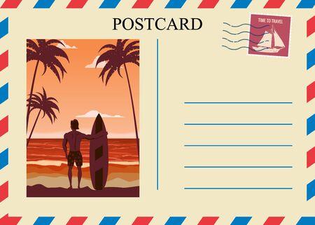 Postacrd summer vintage surfer beach ocean. Vacation travel design card with postage stamp. Vector illustration isolated template Ilustração