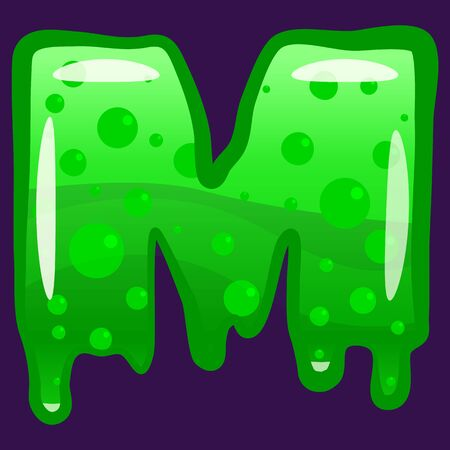 Slime font type letter M latin alphabet. Green bubbling toxic mold. Vector cartoon style illustration