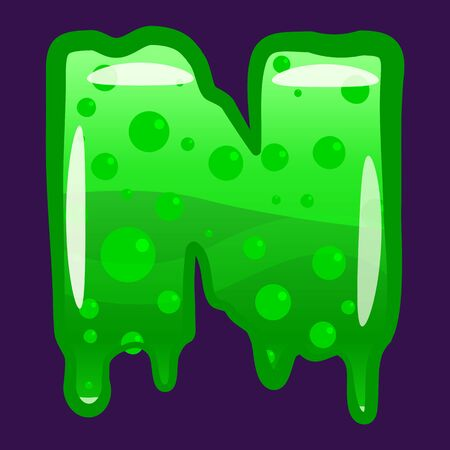 Slime font type letter N latin alphabet. Green bubbling toxic mold. Vector cartoon style illustration