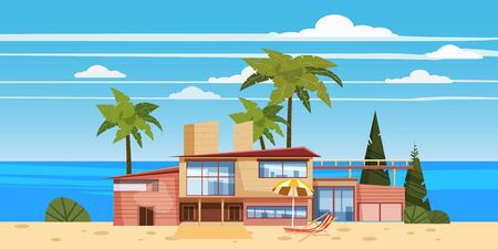 Sea shore beach luxury cottage villa house for rest with palms and plants, sea, ocean Vectores