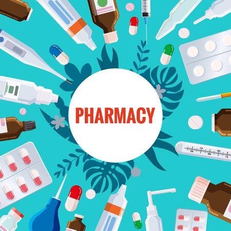 Pharmacy template frame with blister, tubes, spray, syringe, thermometer, pippete, jars pills drugs medical bottles  イラスト・ベクター素材