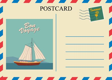 Postacrd summer vintage Sailboat ocean. Vacation travel design card with postage stamp. Vector illustration isolated template  イラスト・ベクター素材