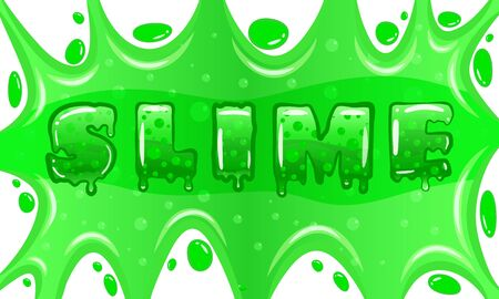 Slime word letters text green bubbling mold. Children s popular creativity art toy