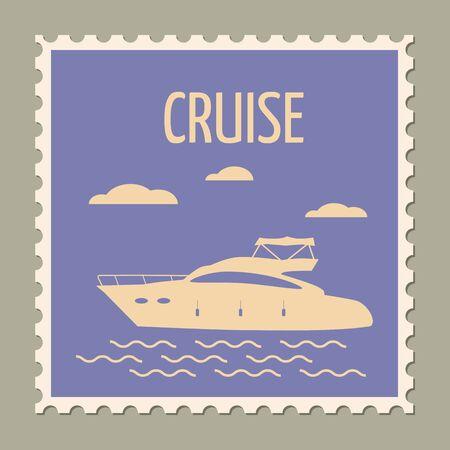 Postage stamp summer vacation Speed yacht. Retro vintage 向量圖像