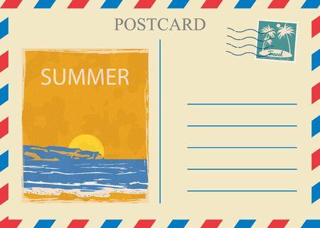 Postacrd summer vintage Sunset ocean. Vacation travel design card with postage stamp
