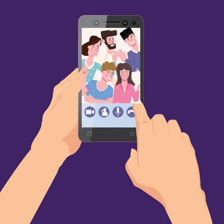 Hand holds smartphone. Video conference man on screen phone talking by internet in videocall, chat, UI,UX interface. Online meeting team workspace remote management communication meeting. Vector illustration isolated trendy flat style