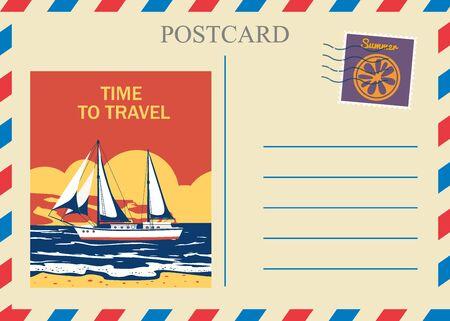 Postacrd summer vintage Sailboat ocean. Vacation travel design card with postage stamp