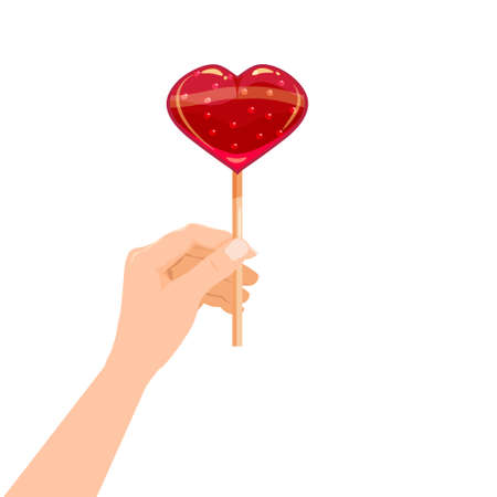 Hand hold candy Lollipop in the shape of a heart dessert sweetness. Vector illustration isolated cartoon style
