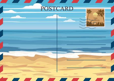 Postacrd summer vintage beach seaside ocean. Vacation travel design card with postage stamp