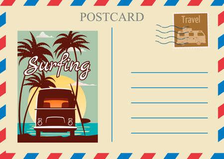 Postacrd summer vintage Van bus surfe ocean. Vacation travel design card with postage stamp  イラスト・ベクター素材