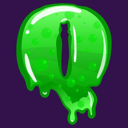 Slime font type letter Q latin alphabet. Green bubbling toxic mold. Vector cartoon style illustration
