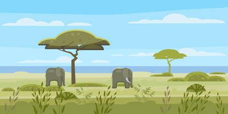 African landscape, savannah, wild herd of elephants, panorama, nature, trees, wilderness. Modern flat cartoon, vector illustration isolated