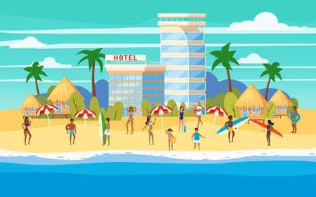 Seashore beach Hotel resort Bungalo, summer vacation. Vector illustration isolated Vecteurs