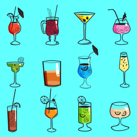 Set cockails tropical summer alcoholic drinks beverages