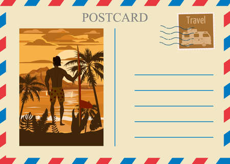Postacrd summer vintage surfer beach ocean. Vacation travel design card with postage stamp
