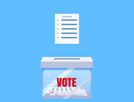 Election vote box transparent with voting blanc paper, ballot campaign