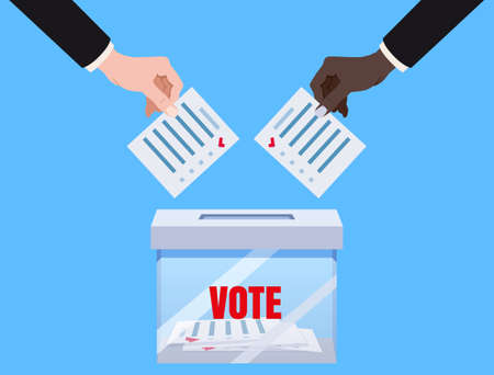 Hands putting voting blancs papers in vote box transparent,