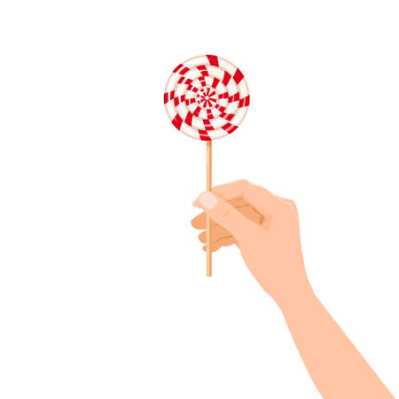 Hand hold candy Lollipop striped dessert sweetness