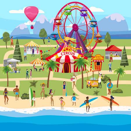 Amusement park outdoor coast sea ocean festival Curcus tent Ferris Wheel Tents Canopy  イラスト・ベクター素材
