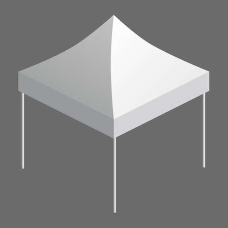Tent trade event isometry, promotional outdoor advertising canopy mobile. Template vector isolated illustration