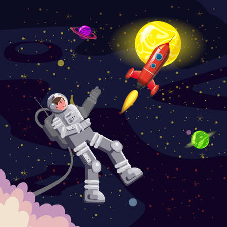 Space card background with spaceman, rocket, UFO, sun, stars. Austronaut panoramic space template. Banner, vector, isolated cartoon flat style