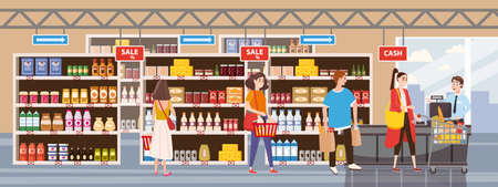 Big Shop Super Market Shopping Mall Interior store inside shelves with dairy products. People buyers in line at cash desk. Flat Vector Illustration