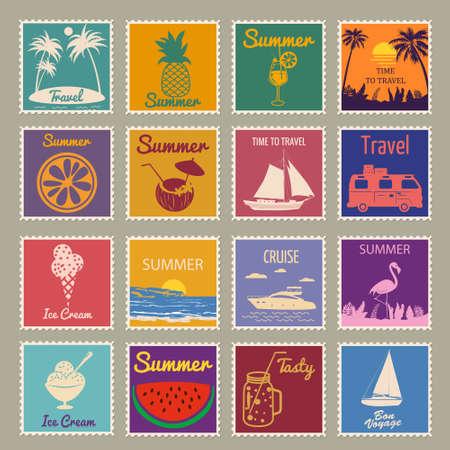Set Postage stamp summer vacation Sunset Watermelon Jar Ice Cream Yacht Van Sailboat Pineapple Flamingo. Retro vintage design vector illustration isolated